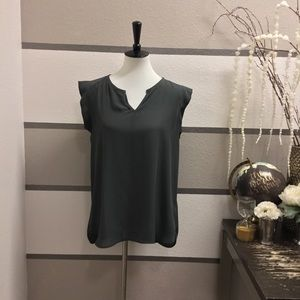 Pleione Olive Pleated Back Blouse